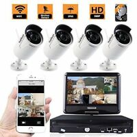 """960P WiFi 4PC Home Security Camera System & 10""""LCD Screen Display Monitor NO HDD"""