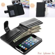 PU Leather Flip Pouch Wallet Case Cover For iPhone 5 5S 5c black
