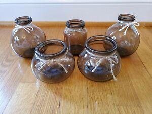 Set of 5 Smoky Glass Vases