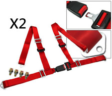 Pair Car Truck 4 Point Racing  Seat Belt Harness Adjustable Auto Universal - Red