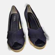 "Markon ""GIO"" size 9.5 M navy shimmer fabric espadrille wedge  womens heels"