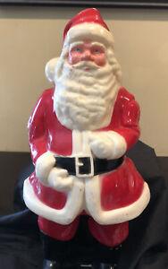Great Vintage Christmas Hard Plastic Santa Blow Mold Formed