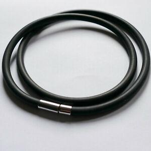 5mm Kautschukband, Kautschukkette schwarz mit Steckverschluss, Halskette, Gummi