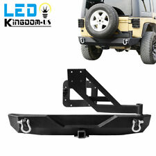 Rock Crawler Rear Bumper With Tire Carrier & Linkage For Jeep Wrangler 07-18 JK
