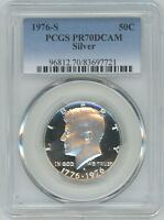 1976-S 50C Silver DC (Proof) Kennedy Half Dollar--PCGS Pr70 DC--Low POP 420