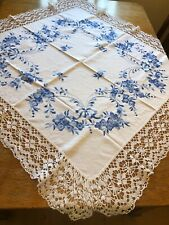 hand embroidered Linen tablecloth Blue White Lace Edge 46x46 Inch VGC