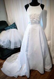 "David's Bridal Wedding Dress by ""Michaelangelo"" A-Line Halter Style Size 10 NWT"