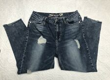 Seven 7 Womens Size 14 High Rise Ankle Skinny Distressed Raw Hem Jeans