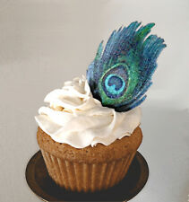 Edible Peacock Feathers, Wafer Paper Cake and Cupcake Decorations