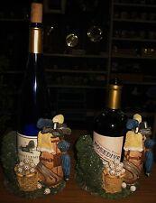 Golfing Wine Bottle Wine, Liquoror Olive Oil Bottle Holder (Pair) NEW Colorful