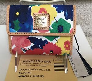 Dooney & Bourke Watercolor Small Flap Wallet in WHITE / MULTICOLOR