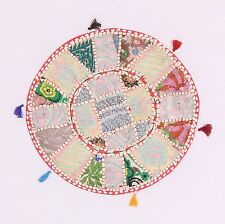 "18"" Embroidered Indian Ottoman Round Poufs Cove Patchwork Pouffe Cover"