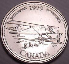 Unc Canada 1999 Millennium 25 Cents~November~Bush Plane With Landing Skiis~Fr/Sh