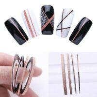 4 Rolls Rose Gold Nail Art Striping Line 1/2/3mm Tape Stickers Decoration