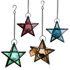 Moroccan Hanging Metal Glass Star Lantern Candle Holder for Wedding Party Decor