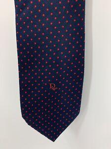 DIOR Christian Dior Navy Blue / Red Polka Dot Men's Neck Tie Vintage Silk Blend