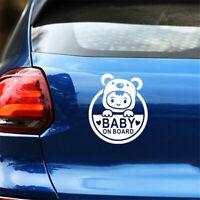 Baby On Board White Auto Car Window Sticker Waterproof Adhesive Vinyl Decal NEW