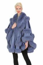 Womens Cashmere Fur Cape Real Fox Trim - Lavender - Empress Style