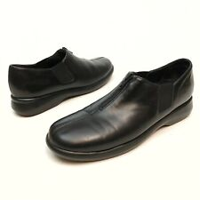 @@ Munro Women's Black Leather Slip On Top Zip Casual Shoes 8.5 SS Narrow Loafer