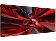 Red Modern Canvas Wall Art of Panoramic Contemporary Abstract 1006