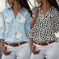 Women Fashion Tops V-neck Blouse Clothing Long Sleeve loral Leopard Print Shirt