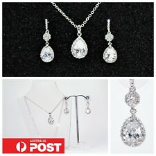 Deluxe Cubic Zirconia Brilliant Teardrop Crystal 3pc Set White Gold Plated