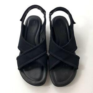 Ecco Size 38 Black Sandals Leather Comfort Low Wedge Hook&Loop Slingback