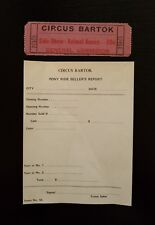 Vintage ~ Circus Bartok ~ 2 Items: Ticket AND Pony Ride Seller's Report