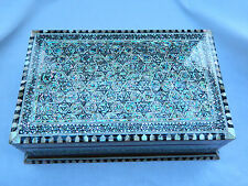 "Egyptian Inlaid Wood Paua Shell Handmade Jewelry Box 10.5"" #743 Very Unique"