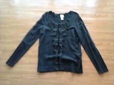 Chico's,black ruffled long sleeve stretch cardigan sweater,womens Chicos 1