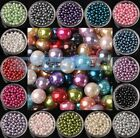 Lot Wholesale 4mm 6mm 8mm Round Glass Pearl Charms Loose Spacer Beads Findings