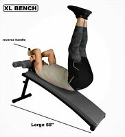 "58"" XL Gym Class Premium Professional Sit-Up Bench Exercises w/ Reverse Handle"