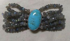 ".925 Turquoise - Labradorite Bead Multi-Strand Stretch 6"" Bracelet - 43g"