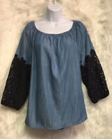 Crown & Ivy Ladies Chambray Top On/Off Shoulder Navy Crochet Trim Sz L - NWT