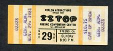 1981 Zz Top Unused Full Concert Ticket Fresno Selland Arena El Loco Motion