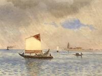 Charles J. Shore, Bragozzo Boat in the Lagoon, Venice – c.1881 watercolour
