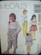 Pullover Top with Pants, Capris or Shorts McCalls Pattern 6950 Sizes 2-3-4 UC/FF