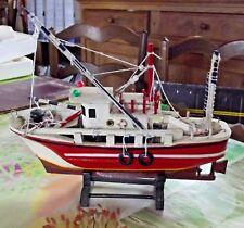 Ancien Souvenir de Vacance navire Chalutier Kitch Bois Vintage Océan Mer Pêche
