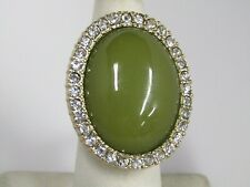 Susan Graver Cabochon and Crystal Cocktail Ring Size 5