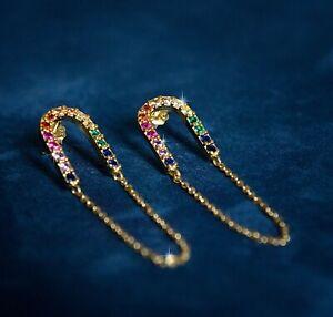 Transparente CZ cristal flor gota pendiente /& Relleno Collar De Oro Cadena Joyas Set