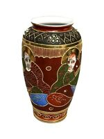 Vintage Hand Painted Satsuma Gilded Vase with Moriage, Immortals 6.5""