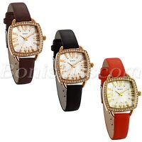 Women's Retro Barrel Shape Roman Numberals Dial Leather Strap Quartz Wrist Watch