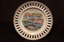 "1962 Seattle Worlds Fair Porcelain Wall Plate ""Gold Fleck"" - Japan - EXCELLENT"