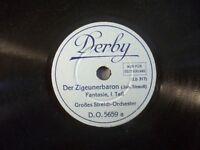 """STREICH-ORCHESTER """"Der Zigeunerbaron - Fantasie - Teil I & II"""" Derby 78rpm 20cm"""