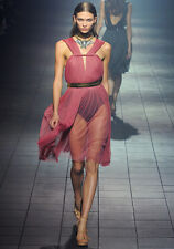 LANVIN  Pleated Silk Blend Tulle Dress Sz:40 Retail $5,640 NEW