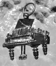 LOOK Sterling Silver Baby Grand Piano Pendant Charm Jewelry Music