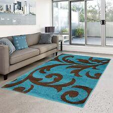 Teppich türkis braun  Moderne Wohnraum-Teppiche mit Blumenmuster | eBay