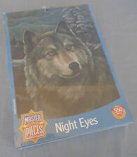 """Master Pieces Night Eyes Wolf Jigsaw Puzzle 18"""" x 24"""" 550 Pieces"""