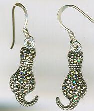 925 Sterling Silver Marcasite Cat Earrings Drop / Dangle Length 35mm