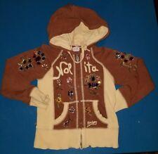 NOLITA pocket BOYS floral gems beads sweatshirt Hoodie tan brown two tone size 4